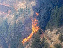 Fire rages across the canyon in September 2003.