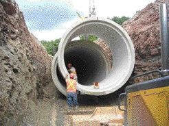 Concrete pipe used for a combined sewer overflow system at Red Hill Creek in Hamilton, Ontario.