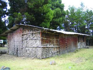 Typical local mud hut school in the Agarfa region in the Bale Mountain Highlands where EBA is helping to improve buildings and water sources.