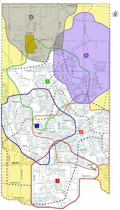 Figure 3. Existing and future fire response coverage for Oshawa, Ontario. Studies showed that the four existing stations in the south needed to be supplemented with two new stations covering areas 5 and 6 shaded in purple and beige.