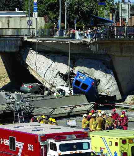 Collapse of the de la Concorde overpass in Laval, Quebec last September.