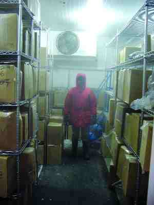 Far right: inside one of the -40 cold storage rooms.