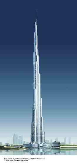 Burj Dubai tower, design by Skidmore, Owings and Merrill.