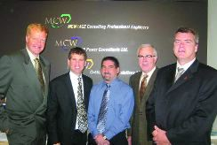 4. Gimli Community Health Centre, Manitoba. MCW/AGE, Winnipeg. Left to right: Steve Reaburn, Elliott Garfinkel, David Jackman, William (Bill) Wright, Curtis Dahl.