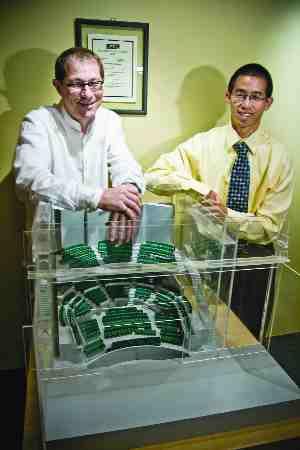 1. Schreyer Award: Acoustic Design of the Esplanade Arts and Heritage Centre, Medicine Hat, Alberta. Aercoustics Engineering, Toronto. Left: John O'Keefe. Right: Kiyoshi Kuroiwa.