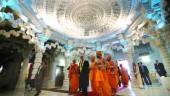 Prime Minister Stephen Harper and BAPS' leader, Pramukh Swami Maharaj, inside the main prayer hall on opening day.