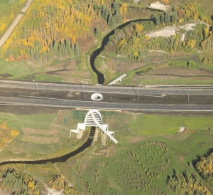 Top: aerial view, with oculus opening into the highway median. Above: view inside the arch, at path level.
