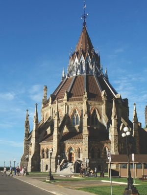 Restored building with its elaborate neo-Gothic architecture.