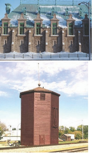Top: Quebec City's Armoury before the fire. Above: Water tower in Glenboro, Manitoba