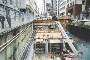 Tunnel digging for Vancouver's new Canada Line transit line along Granville Street (InTransit BC and SNC-Lavalin).