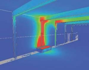 NIST Fire Dynamic Simulator used to model a design fire at the base of an exposed steel column. Modelling by R. J. Bartlett Engineering.