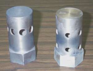 Discharge nozzles for gaseous fire suppression systems.