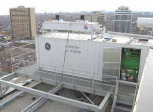 The 335-kW combined heat and power plant installed on the roof.