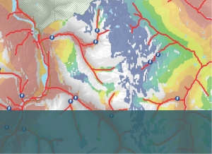 Detail from Kerr Wood Leidal's modelling to cost new roads for potential hydropower sites. Above: