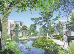 Above: artist's rendering of housing along the creek; the waterway also serves to channel stormwater and is replenished with reclaimed wastewater when weather conditions are dry.