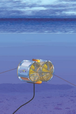 The Underwater Electric Kite (UEK) HydroKinetic turbine is buoyant and can rise or descend with the tide.