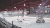 Above: the arena; heat rejected while producing the ice is used for radiant floor heating in the grandstand.