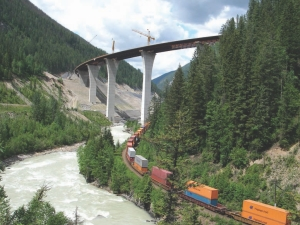 The new Park Bridge rides over the canyon floor and the CP rail line.