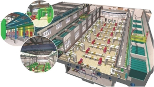 3-D diagram of plant, with membrane filtration equipment in side galleries and membrane filter pumps on main plant floor.