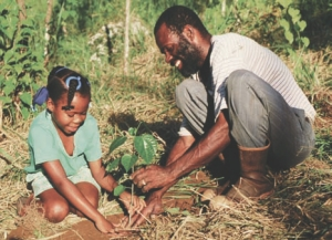 Teaching the younger generation about forestry resources and trees in preventing soil erosion.