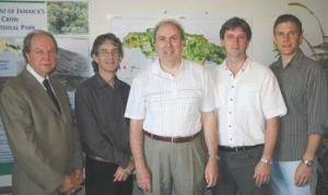 6 Trees for Tomorrow, Jamaica. Tecsult International, Quebec City. Left to right: Jean-Louis Krouac, Guy Parent, Jacques Poirier, Denis Baron, Stphane Tremblay.