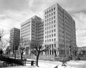 Federal Public Building, Edmonton, photographed in 1957, shortly after being constructed. It has been vacant for over a decade.