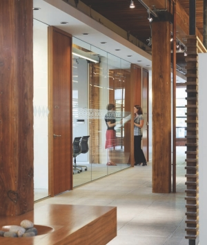 Street level; high ceilings and glass let daylight penetrate the building.