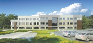Architectural rendering of new headquarters under construction in Kitchener. A long skinny building ensures good daylighting inside.