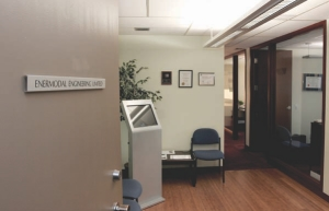 """Calgary office lobby, with a """"green building kiosk"""" for monitoring the indoor environmental conditions."""