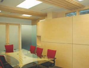 Conference Room. Maple details in the ceiling and the custom-made table add interest.