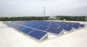 20 kW photovoltaic array on roof.