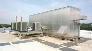 Rooftop HVAC equipment.