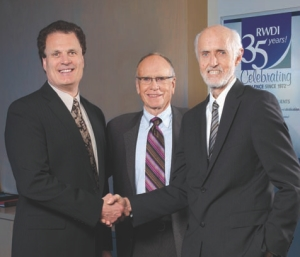Left to right: Michael Soligo, current president and chief executive officer of RWDI; Bill Rowan, president 1986-1999, now chair of board; Peter Irwin, president 1999-2007.