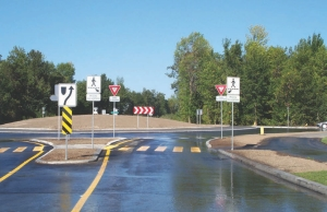 Approaching a roundabout designed by Genivar in Chambly, Quebec.