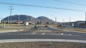 Roundabout in Beloeil, Quebec, designed by Genivar and opened in the fall of 2008.