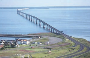 Confederation Bridge, completed in 1997 across the Northumberland Strait, P. E. I.