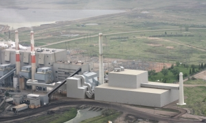 3D model of Boundary Dam plant with C02 capture and compression facilities added to the existing plant (new facilities shown at right).