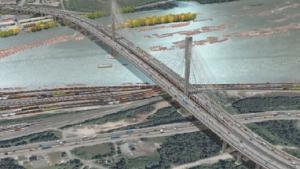 Artist's rendering of planned 2-kilometre Port Mann bridge near Vancouver.