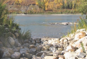 Outfall channel into North Saskatchewan River.