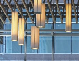 Above: custom pendant lamps in ballroom.