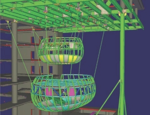 Above: Tekla Model of the auditorium pods in the lobby, courtesy of Walters Inc.