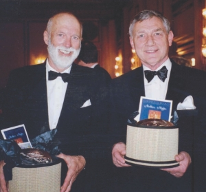 Peter Taylor (left) and Peter Buckland (right) receiving an award from Consulting Engineers of B. C. in 2006.