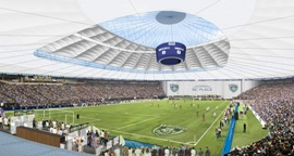 Artist's impression of new retractable roof on BC Place Stadium, Vancouver