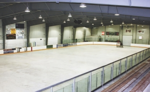 Above: inside the rink lighting levels can be varied.