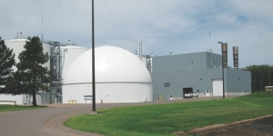 The digester plant; the plant is located in one corner of the potato processing plant that covers 5-acres.