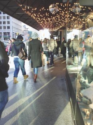 Left: shoppers on Bloor Street West, Toronto.
