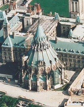 Library of Parliament in Ottawa; Golder oversaw major excavations below the building in 2002. The project required careful blasting to avoid causing damage to the heritage structure.