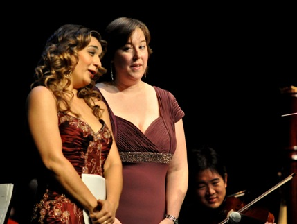 """Isabel Barakdarian (left) and """"Skule Idol"""" winner Anne Bornath (right) sing at the University of Toronto last month. Photograph by Summer Harris, Courtesy Engineering Science,  University of Toronto"""