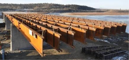 Athabasca Bridge under construction.