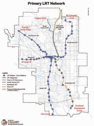 Above: Calgary's existing and proposed LRT system.